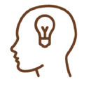 Line Drawing of a face profile with a light bulb for a brain.