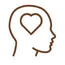 Line Drawing of a face profile with a heart for a brain.